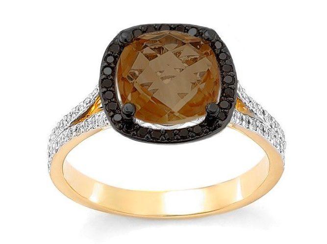 pierścionek zaręczynowy z kwarcem dymnym